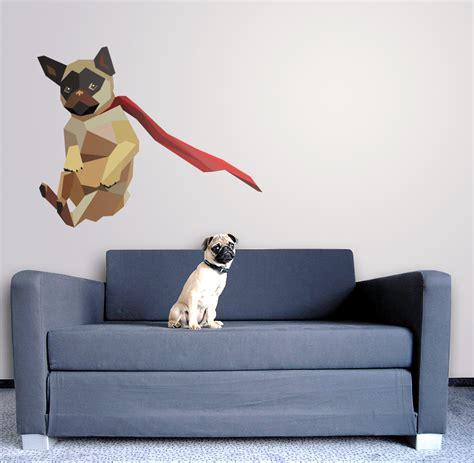 pug home decor flying pug printed wall decal vinyl home decor art 15 quot x18