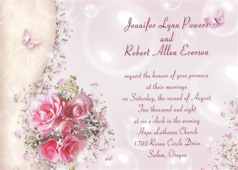 wedding invitations with pink roses cheap soft pink and butterfly wedding stationary ewi101 as low as 0 94