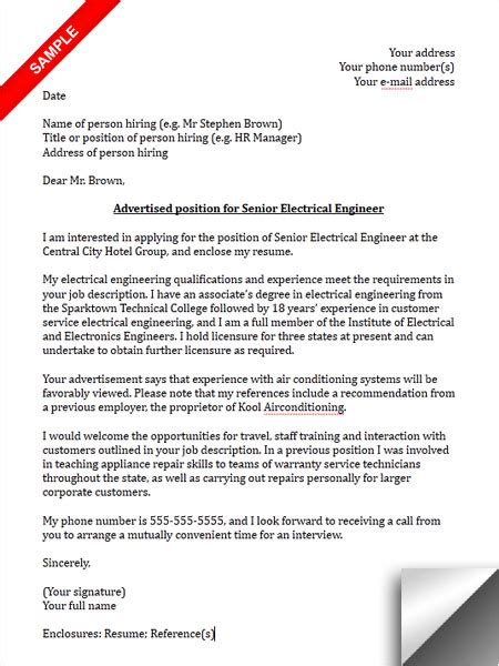 electrical engineer cover letter sle