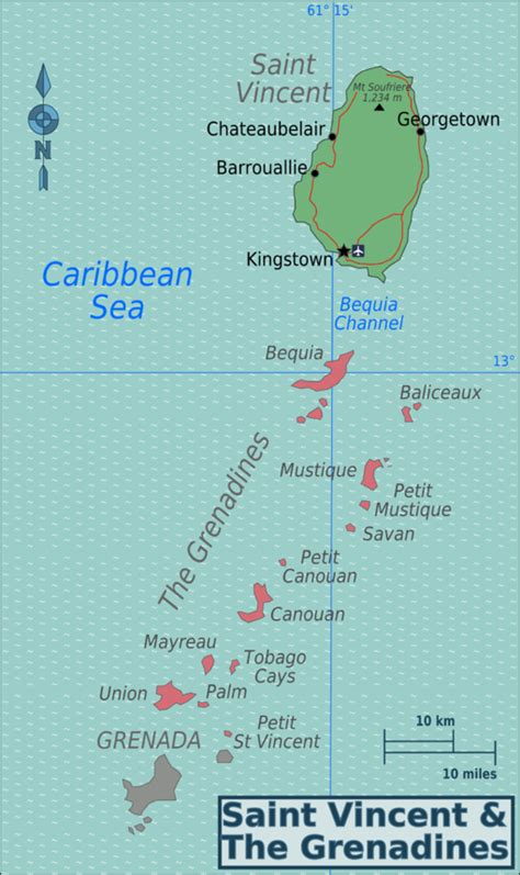 map of st vincent and the grenadines vincent and the grenadines wikitravel