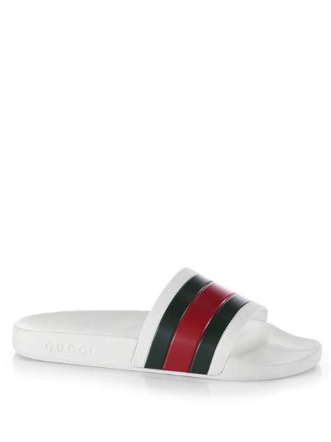 gucci pursuit 72 slide sandals gucci pursuit 72 rubber slides in white for lyst