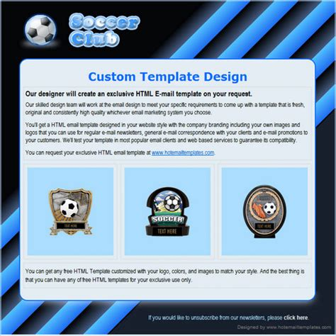 Soccer Free Html E Mail Templates Football Email Template