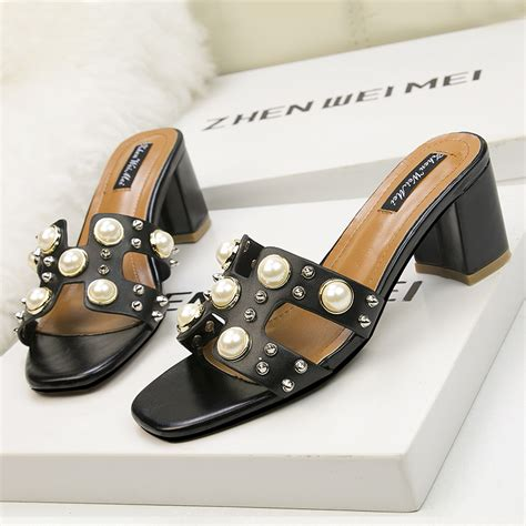 Block Heel Slide Sandals black block heel slide sandals heelscn