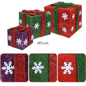 set of 3 lit gift boxes set of 3 gift boxes led lighted outdoor in outdoor decor sale ebay