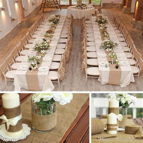Christmas Centerpiece Images - vintage burlap jute table runner hessian roll for wedding party banquet home decoration size 10m