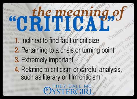 Definition For The Meaning Of Quot Critical Quot They Call Me Oystergirl