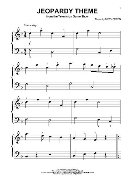 Jeopardy Theme Song Free Jeopardy Theme Sheet Music Direct