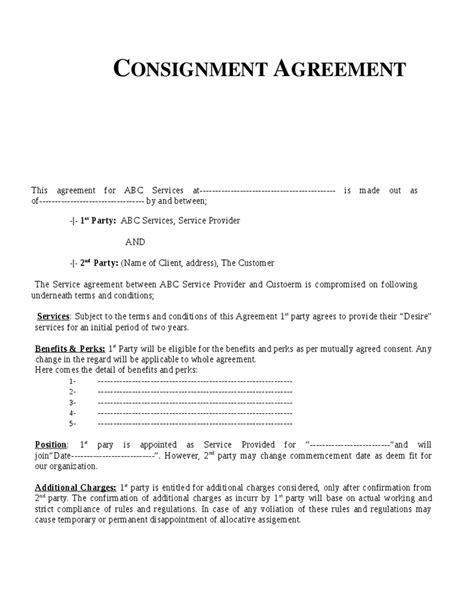 consignment agreement template free 301 moved permanently