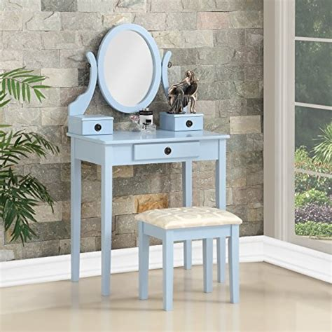 Roundhill Furniture Moniya White Wood Vanity Table And Stool Set by Roundhill Furniture For Bedroom Forbedroom