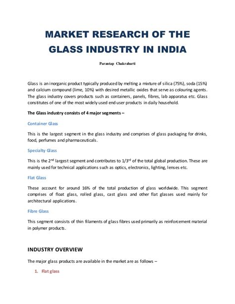 Market research of theglass industry in indiaparantap chakrabartiglass