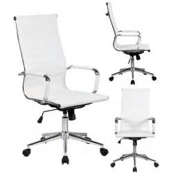 White Office Desk Chairs Modern High Back White Ribbed Upholstered Pu Leather Executive Office Desk Chair Ebay