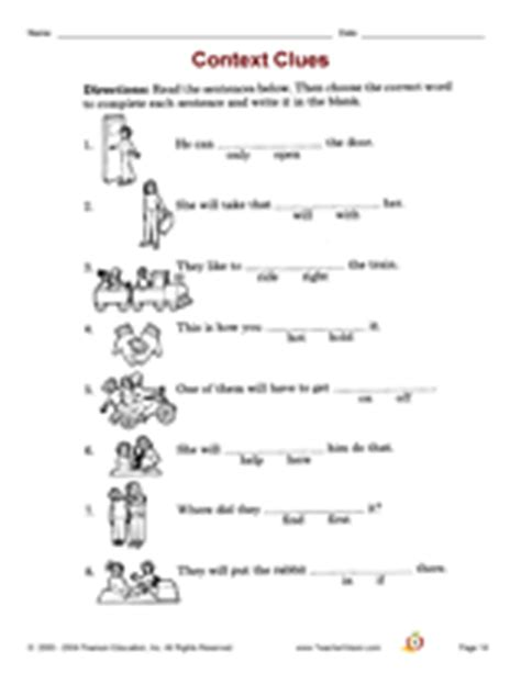 Context Clues Worksheets 2nd Grade by Context Clues Printable 1st 3rd Grade Teachervision