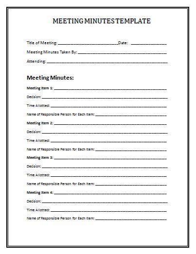 meeting minutes template e commercewordpress