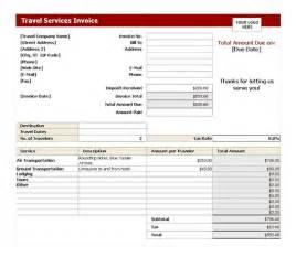 Travel Receipt Template Travel Service Invoice Travel Service Invoice Template