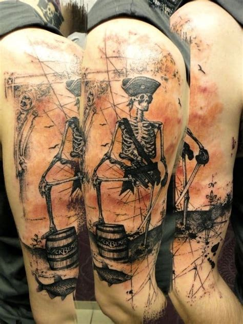 pirate sleeve tattoo designs 30 awesome skeleton tattoos amazing ideas