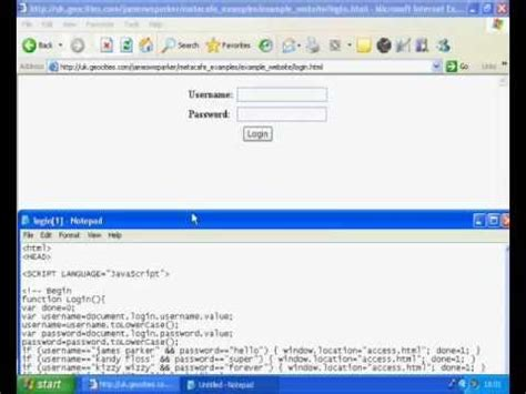Javascript Tutorial Login Page | hack a javascript login page password stealing hacking