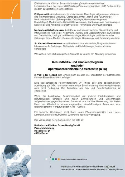 Bewerbungsschreiben Ausbildung Zur Ota Gesundheits Und Krankenpfleger In Und Oder Operationstechnische R Assistent In Ota