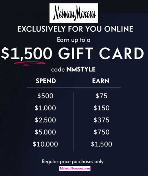 Neiman Marcus Promotional Gift Card - neiman marcus bonus gift cards gwps makeup bonuses
