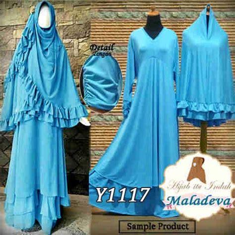 Gamis Jersey Dengan Brokat Gliter Set Bergo gamis bergo maladeva blue y1117 baju muslim jumbo syari