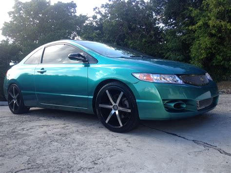 teal green car blue green flip carribean gold honda civic paint with pearl