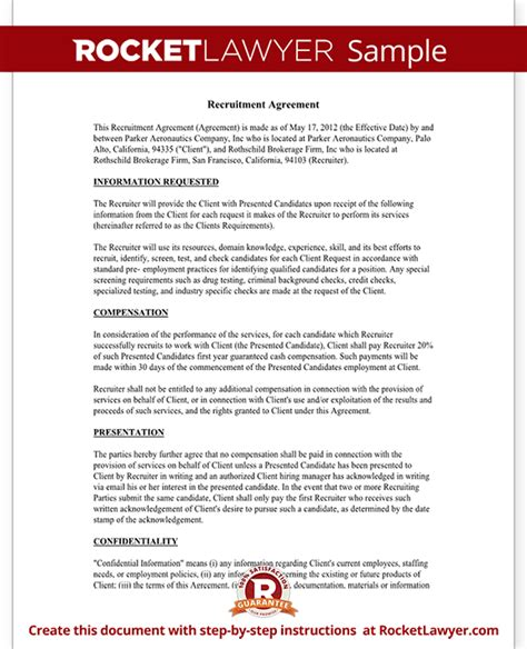 recruiting contract template recruiter agreement recruitment contract agreement
