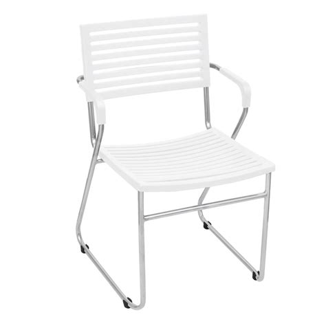 White Stackable Chairs by Vidaxl Co Uk White Stackable Arm Chair 2 Pcs