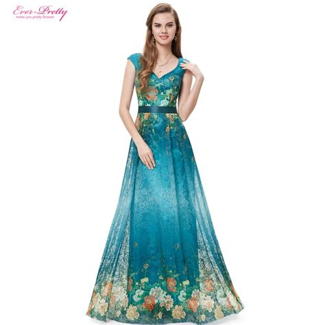 Muddy Floral Print Dresses by Evening Dresses Ep08386gr Pretty V Neck Printed
