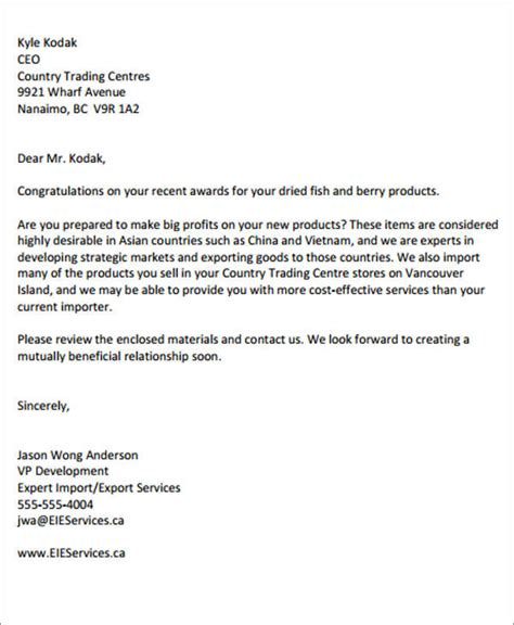 Offer Letter Export Business Letter Sles For Export And Import Trade Cover Letter Templates