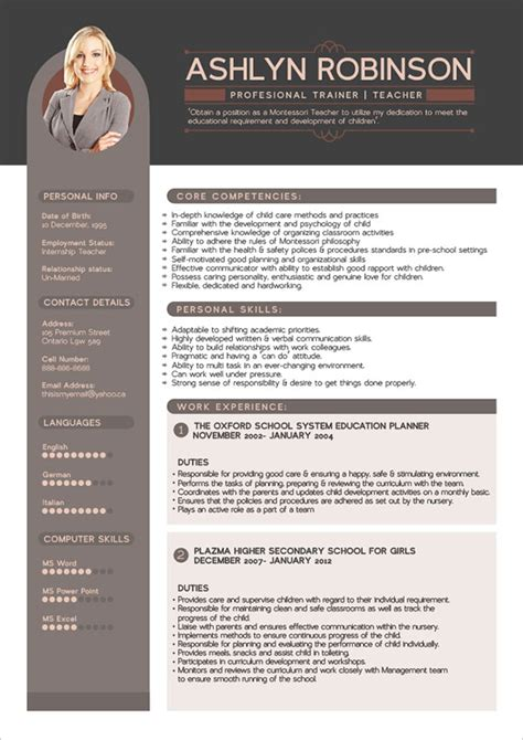 The Best Resume Template by Free Premium Professional Resume Cv Design Template With
