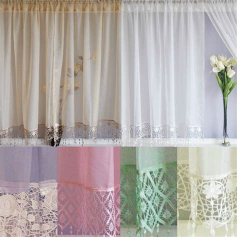 white cream curtains voile net curtains panels with macrame lace white cream