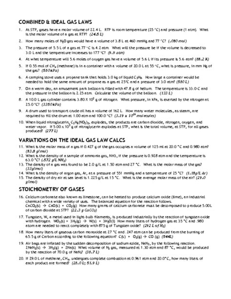Combined Gas Worksheet Key by Gas Worksheets Worksheets