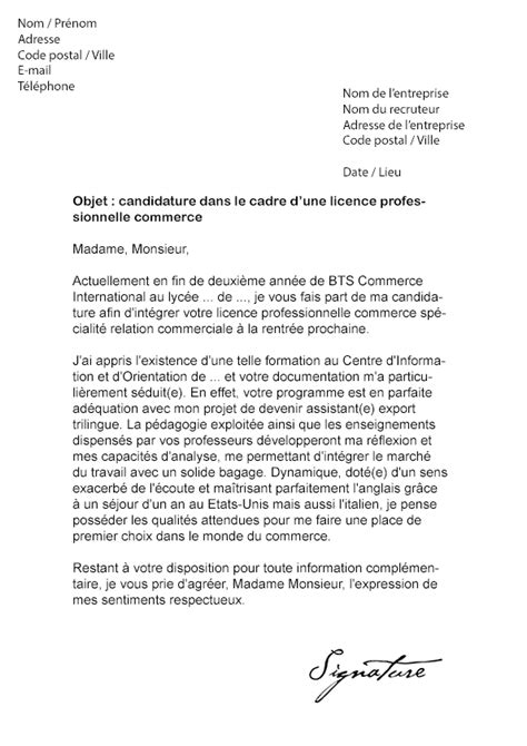 Exemple Lettre De Motivation Candidature Ecole De Commerce Lettre De Motivation Licence Pro Commerce Mod 232 Le De Lettre