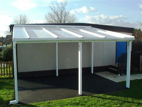 6m Powder Coated Aluminium Free Standing Canopy, Lean to