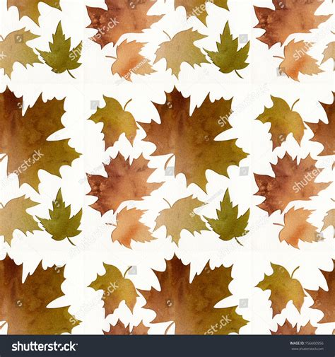 brown leaf pattern brown green leaf pattern watercolor abstract stock