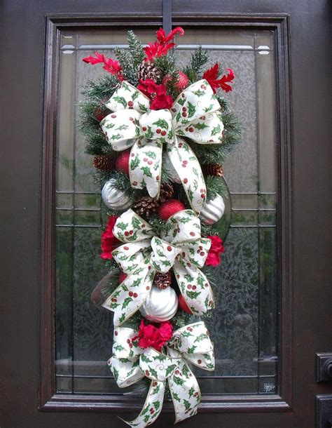 christmas swags for doors swag wreath teardrop winter