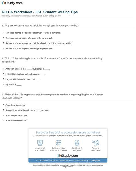 worksheets for students quiz worksheet esl student writing tips study