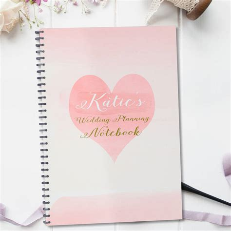 personalised wedding planning notebook gift by august