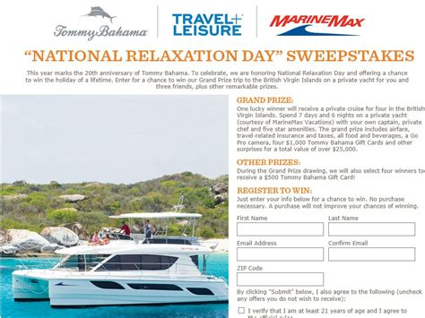 Tommy Bahama Sweepstakes - tommy bahama national relaxation day sweepstakes