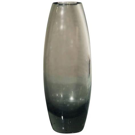 Grey Glass Vase Vintage Mid Century Hellas Glass Vase Smoke Grey By Per