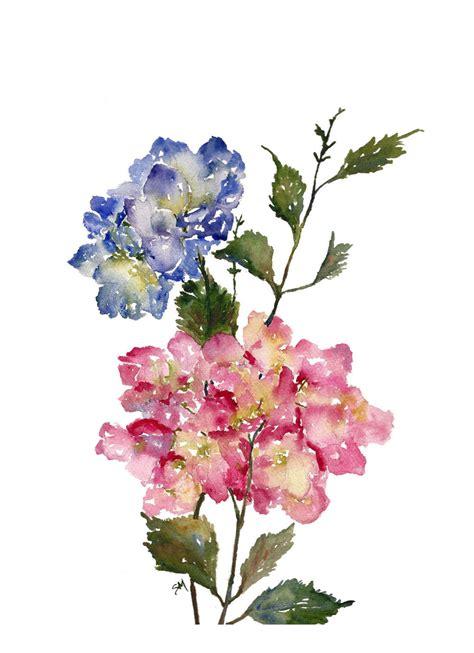 printable watercolor flowers hydrangea watercolor print 8x10 watercolor flowers
