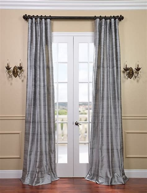 silver silk curtains silver bell textured dupioni silk curtain traditional