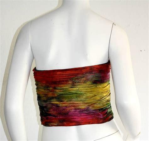 Bustier Motif Polka Shock Pink emanuel ungaro vintage silk rainbow ombre bustier top at