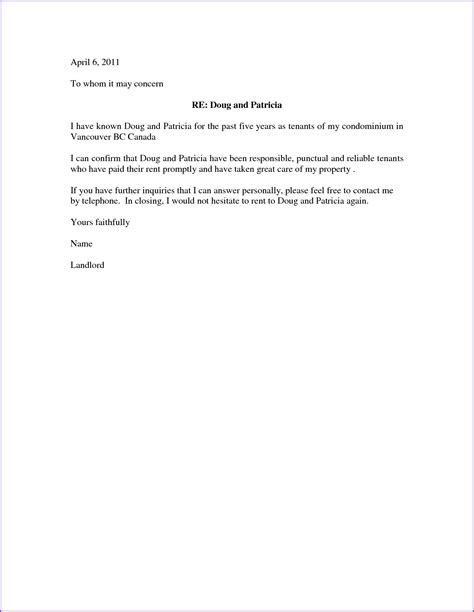 Tenant Reference Letter For A Friend Landlord Reference Letter Jobproposalideas