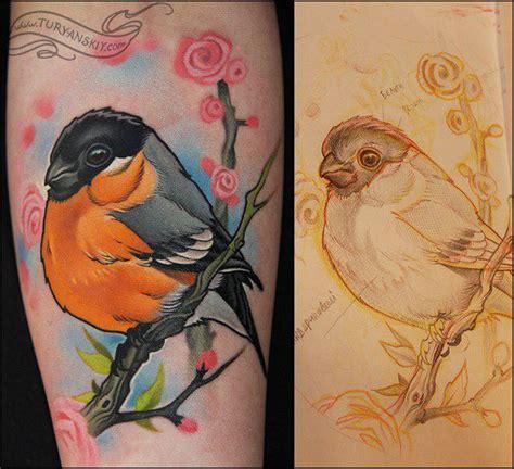 cartoon tattoo melbourne bullfinch bird tattoo by oleg turyanskiy tattoos
