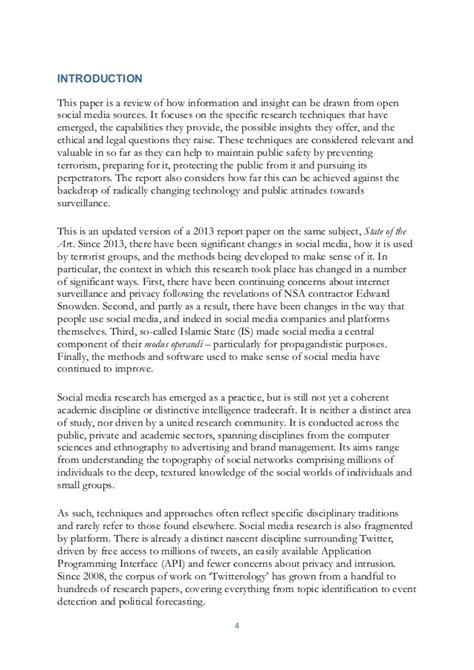 Intel Research Paper Format by The State Of The 2015 A Literature Review Of Social Media Intelli