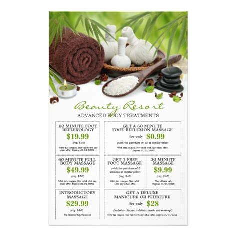 templates for massage flyers customizable pre filled spa massage salon coupons flyers