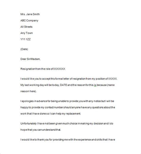 Resignation Letter Without Notice Uk Resignation Notice Template 16 Free Sles Exles Format Free Premium Templates