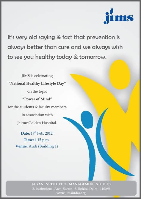 Mba Colleges In Rohini by Jims Rohini Is Celebrating Quot National Healthy Lifestyle Day