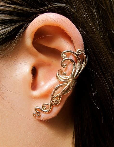 ear cuff swirl earring spiral earring ear wrap bronze