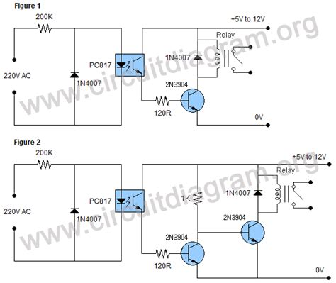 isolated ac detector relay switch circuit diagram
